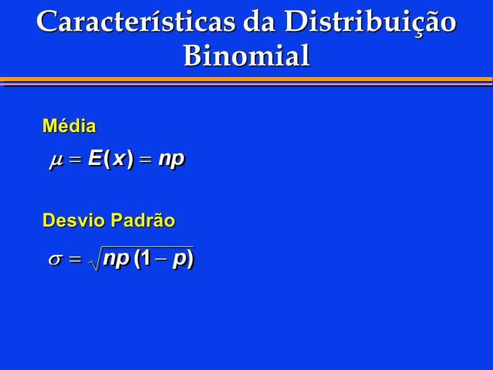 Características da Distribuição Binomial Média Desvio Padrão