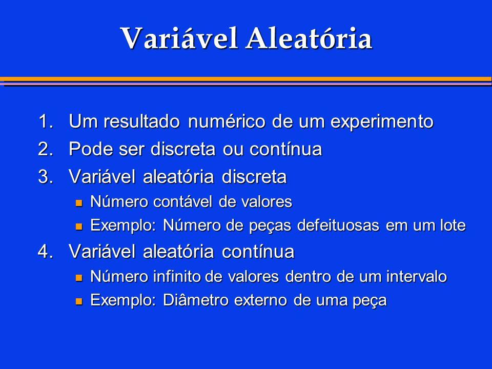 Variável Aleatória 1.Um resultado numérico de um experimento 2.Pode ser discreta ou contínua 3.Variável aleatória discreta Número contável de valores