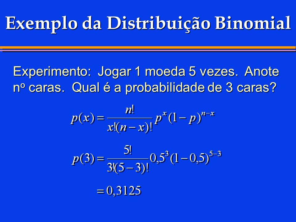 Exemplo da Distribuição Binomial Experimento: Jogar 1 moeda 5 vezes. Anote n o caras. Qual é a probabilidade de 3 caras?