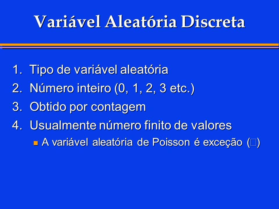 Variável Aleatória Discreta 1. Tipo de variável aleatória 2.Número inteiro (0, 1, 2, 3 etc.) 3.Obtido por contagem 4.Usualmente número finito de valor