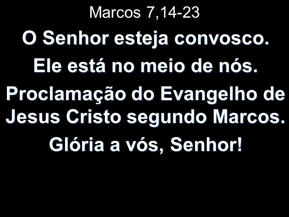 Marcos 7,14-23 O Senhor esteja convosco. Ele está no meio de nós. Proclamação do Evangelho de Jesus Cristo segundo Marcos. Glória a vós, Senhor!