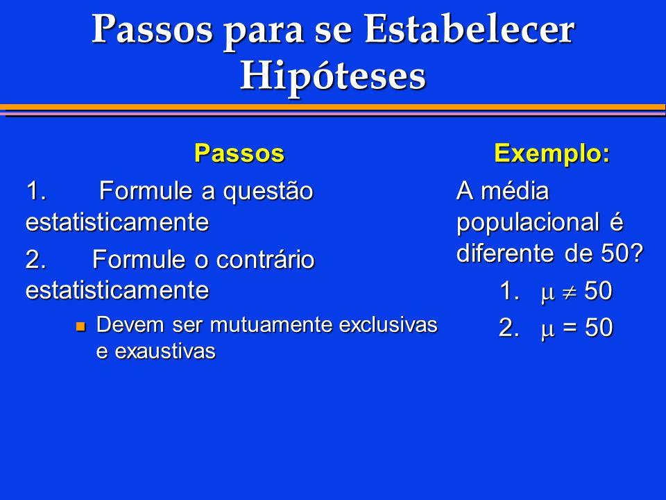 Passos para se Estabelecer Hipóteses Passos 1.Formule a questão estatisticamente 2.
