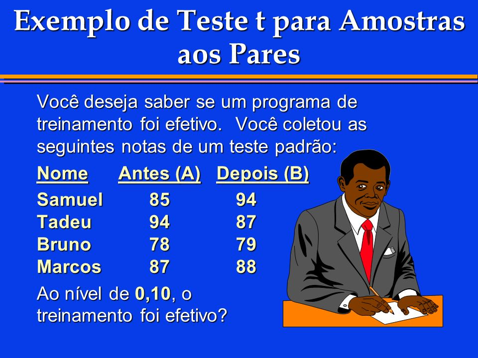 Exemplo de Teste t para Amostras aos Pares Você deseja saber se um programa de treinamento foi efetivo. Você coletou as seguintes notas de um teste pa