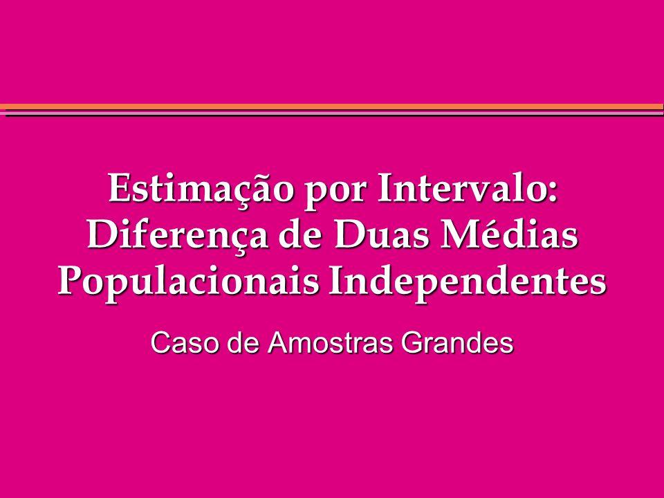 Estimação por Intervalo: Diferença de Duas Médias Populacionais Independentes Caso de Amostras Grandes