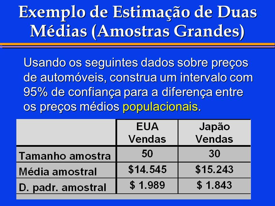 Exemplo de Estimação de Duas Médias (Amostras Grandes) Usando os seguintes dados sobre preços de automóveis, construa um intervalo com 95% de confianç