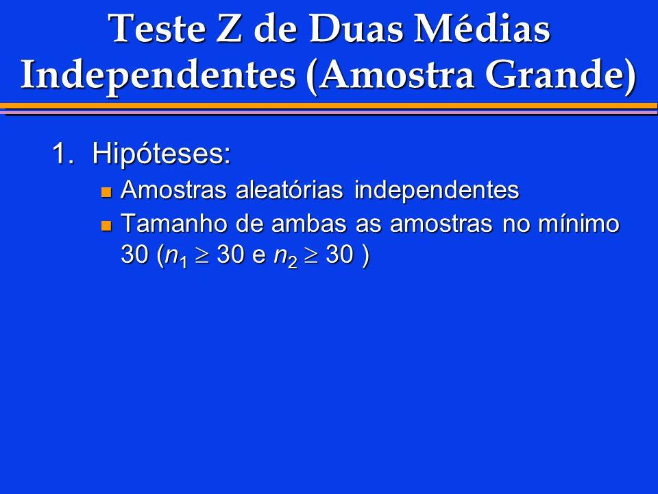 Teste Z de Duas Médias Independentes (Amostra Grande) 1.Hipóteses: Amostras aleatórias independentes Amostras aleatórias independentes Tamanho de amba