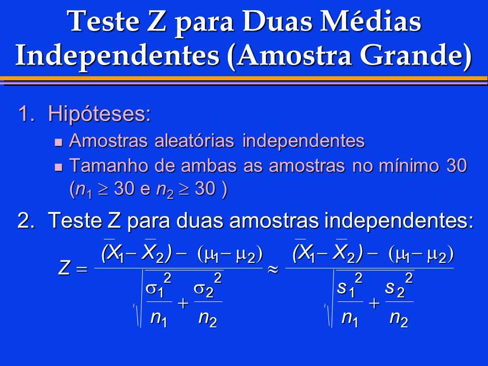 Teste Z para Duas Médias Independentes (Amostra Grande) 1.Hipóteses: Amostras aleatórias independentes Amostras aleatórias independentes Tamanho de am
