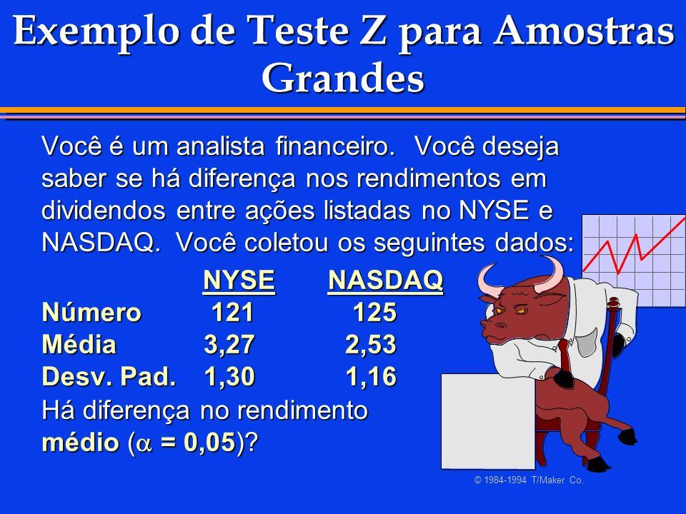 Exemplo de Teste Z para Amostras Grandes Você é um analista financeiro. Você deseja saber se há diferença nos rendimentos em dividendos entre ações li