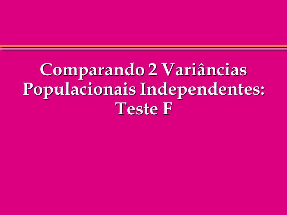 Comparando 2 Variâncias Populacionais Independentes: Teste F