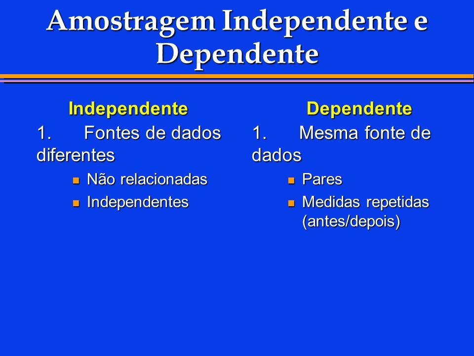 1.Fontes de dados diferentes Não relacionadas Não relacionadas Independentes Independentes 1.Mesma fonte de dados Pares Pares Medidas repetidas (antes