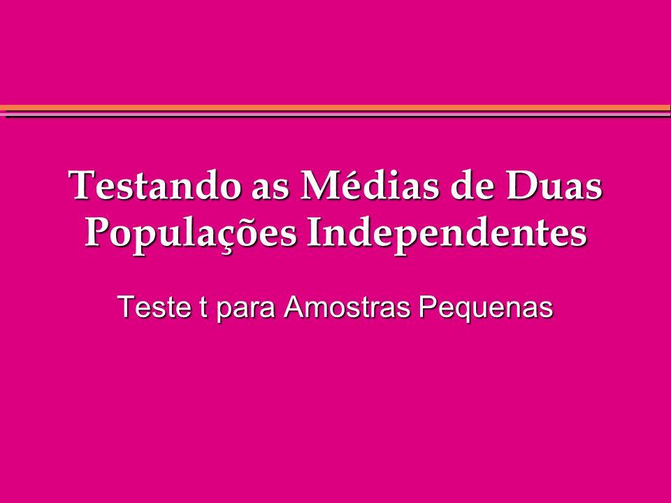 Testando as Médias de Duas Populações Independentes Teste t para Amostras Pequenas