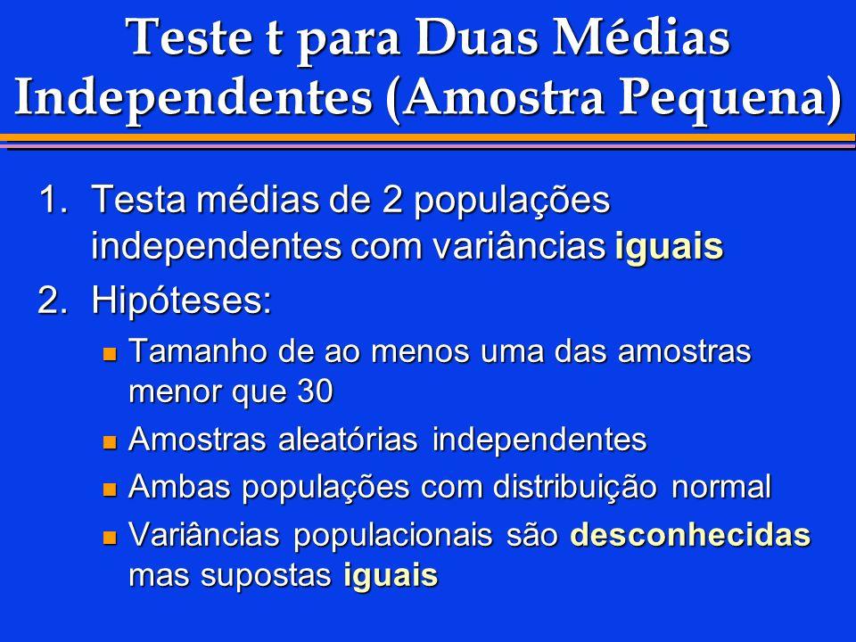 Teste t para Duas Médias Independentes (Amostra Pequena) 1.Testa médias de 2 populações independentes com variâncias iguais 2.Hipóteses: Tamanho de ao