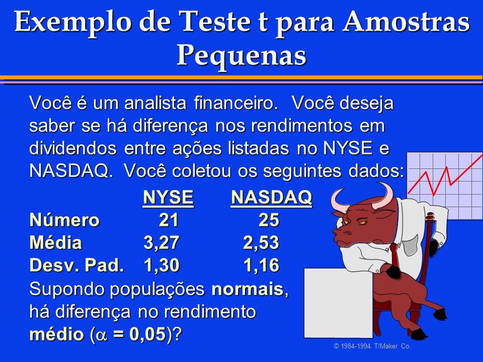 Exemplo de Teste t para Amostras Pequenas Você é um analista financeiro. Você deseja saber se há diferença nos rendimentos em dividendos entre ações l