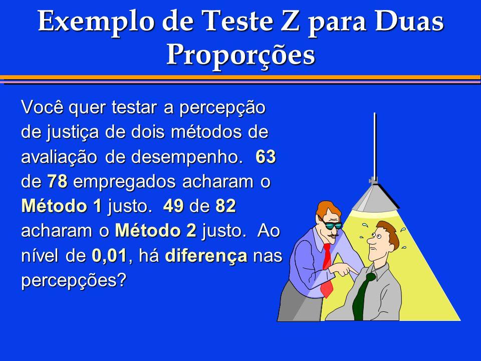 Exemplo de Teste Z para Duas Proporções Você quer testar a percepção de justiça de dois métodos de avaliação de desempenho. 63 de 78 empregados achara