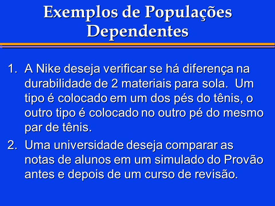Exemplos de Populações Dependentes 1.A Nike deseja verificar se há diferença na durabilidade de 2 materiais para sola. Um tipo é colocado em um dos pé