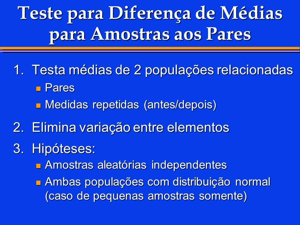 Teste para Diferença de Médias para Amostras aos Pares 1.Testa médias de 2 populações relacionadas Pares Pares Medidas repetidas (antes/depois) Medida