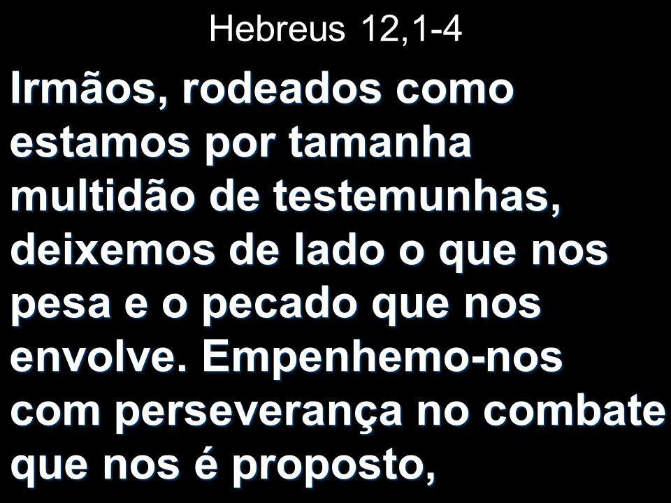Hebreus 12,1-4 Irmãos, rodeados como estamos por tamanha multidão de testemunhas, deixemos de lado o que nos pesa e o pecado que nos envolve. Empenhem