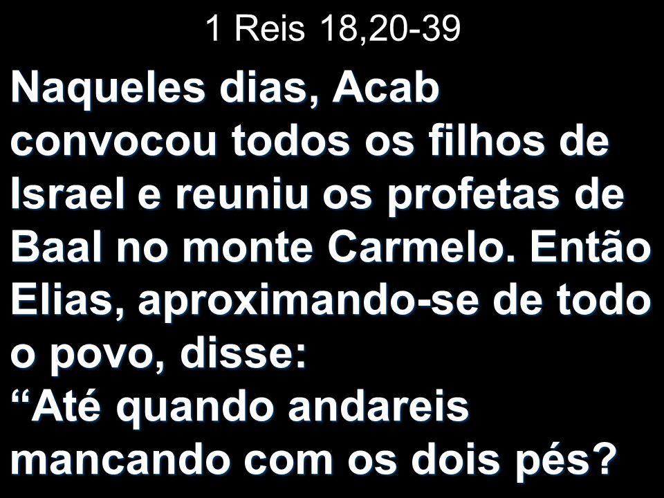 1 Reis 18,20-39 Naqueles dias, Acab convocou todos os filhos de Israel e reuniu os profetas de Baal no monte Carmelo. Então Elias, aproximando-se de t