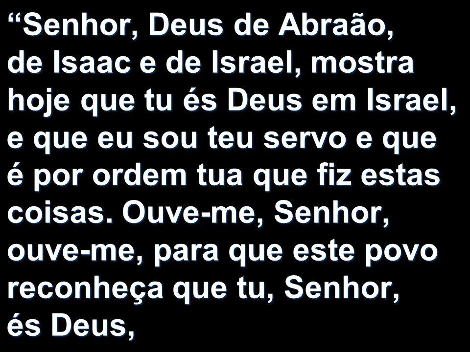 Senhor, Deus de Abraão, de Isaac e de Israel, mostra hoje que tu és Deus em Israel, e que eu sou teu servo e que é por ordem tua que fiz estas coisas.