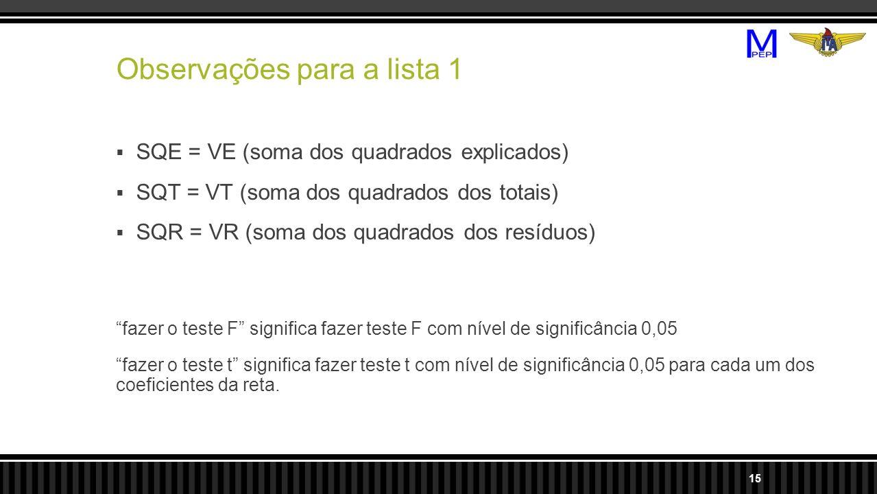 Observações para a lista 1 SQE = VE (soma dos quadrados explicados) SQT = VT (soma dos quadrados dos totais) SQR = VR (soma dos quadrados dos resíduos