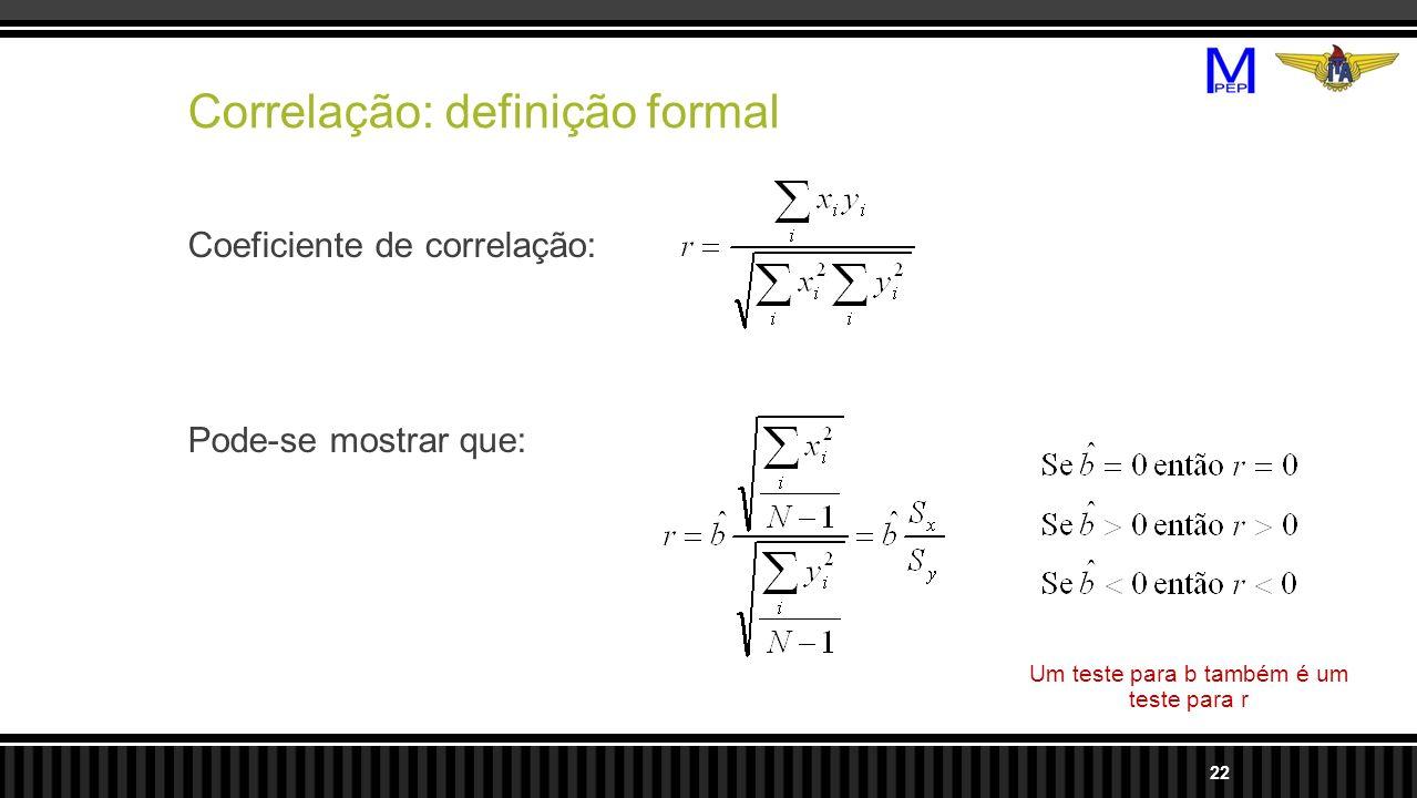 Correlação: definição formal Coeficiente de correlação: Pode-se mostrar que: 22 Um teste para b também é um teste para r