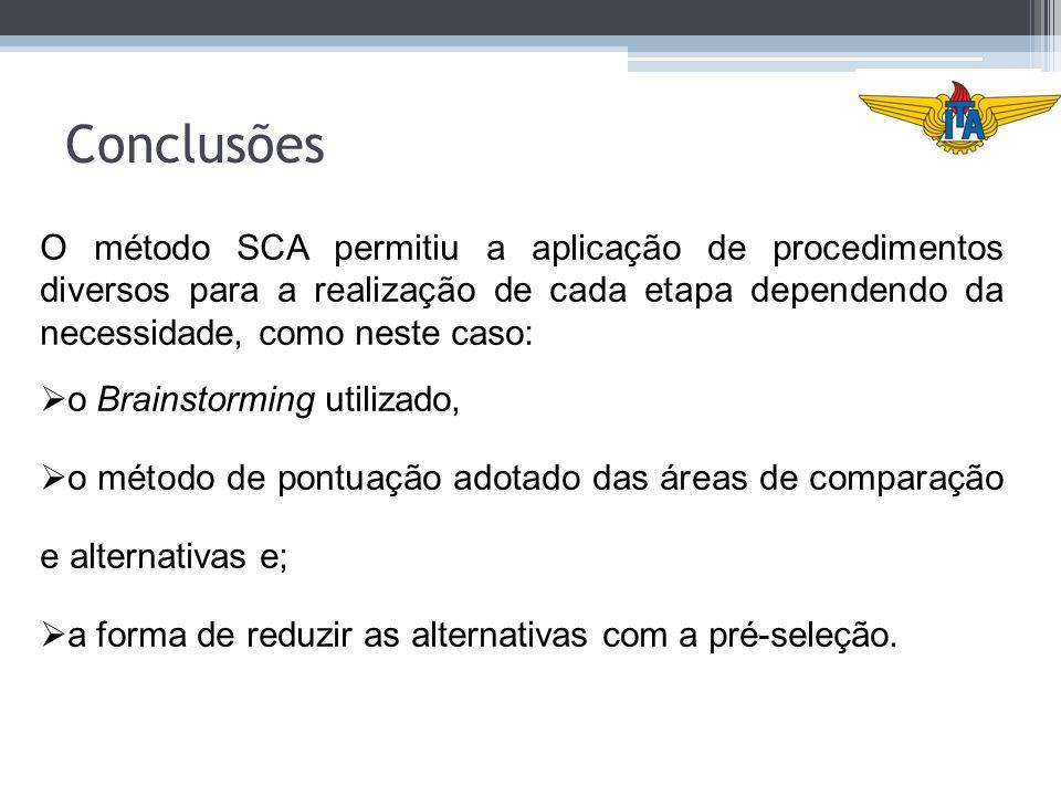 Conclusões O método SCA permitiu a aplicação de procedimentos diversos para a realização de cada etapa dependendo da necessidade, como neste caso: o B
