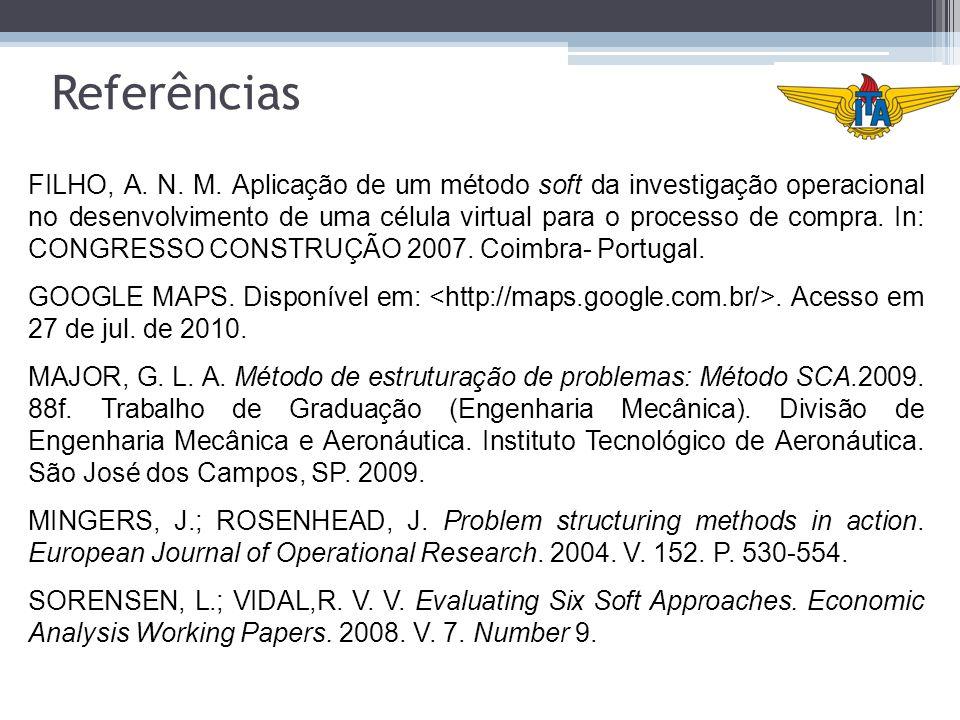 Referências FILHO, A. N. M. Aplicação de um método soft da investigação operacional no desenvolvimento de uma célula virtual para o processo de compra