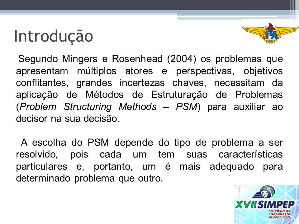 Os PSMs mais utilizados são: Strategic Options Development and Analysis (SODA), Soft Systems Methodology (SSM) e; Strategic Choice Approach (SCA).