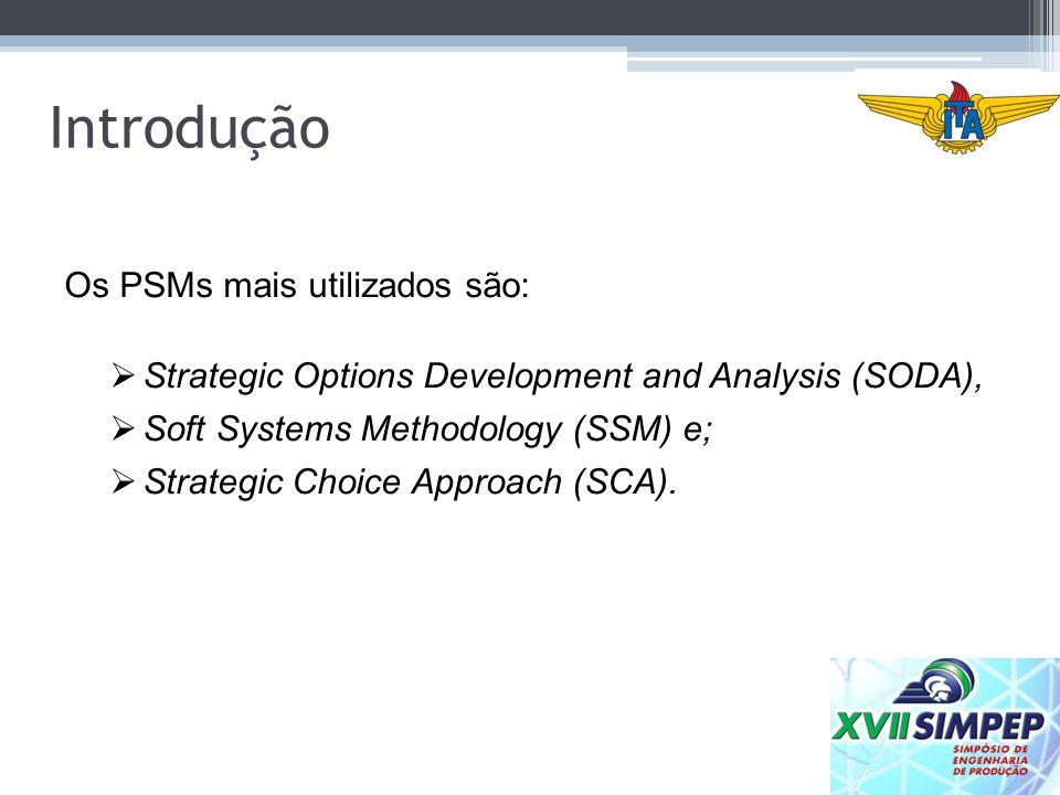 Os PSMs mais utilizados são: Strategic Options Development and Analysis (SODA), Soft Systems Methodology (SSM) e; Strategic Choice Approach (SCA). Int