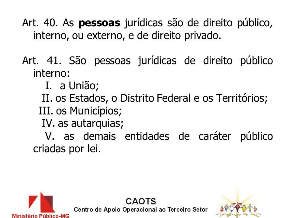 Art.40. As pessoas jurídicas são de direito público, interno, ou externo, e de direito privado.