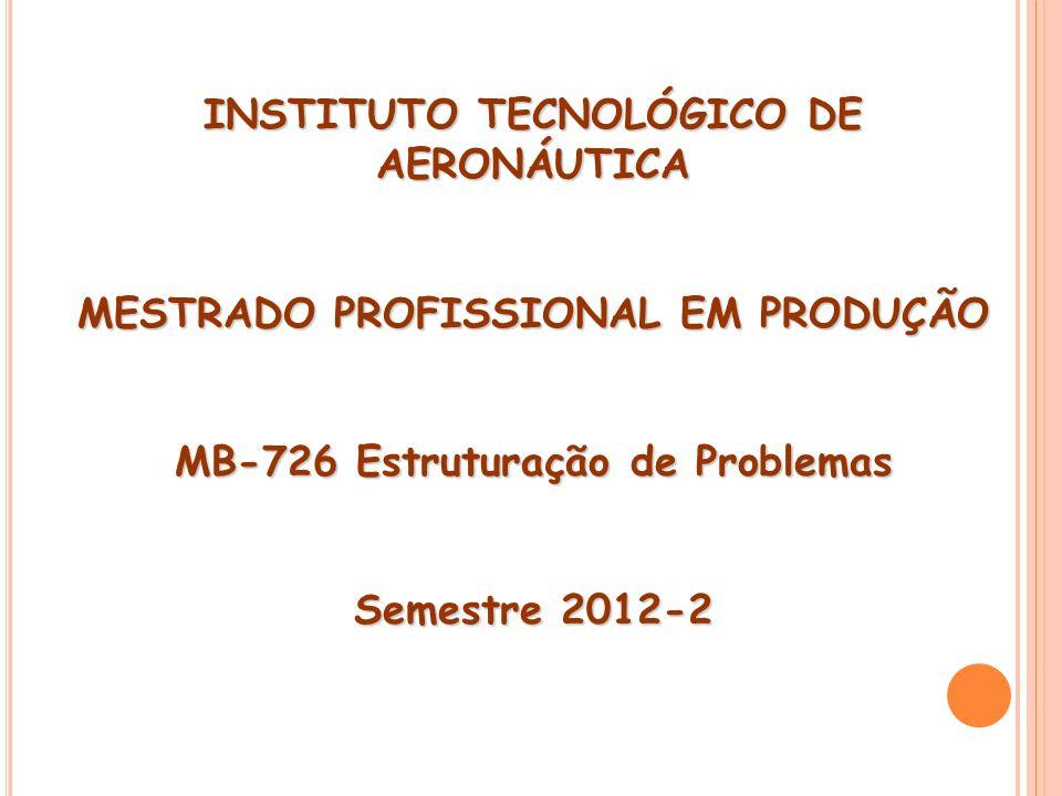 INSTITUTO TECNOLÓGICO DE AERONÁUTICA MESTRADO PROFISSIONAL EM PRODUÇÃO MB-726 Estruturação de Problemas Semestre 2012-2