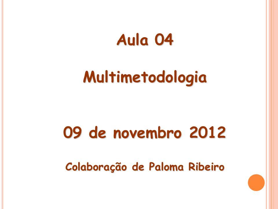 Aula 04 Multimetodologia 09 de novembro 2012 Colaboração de Paloma Ribeiro