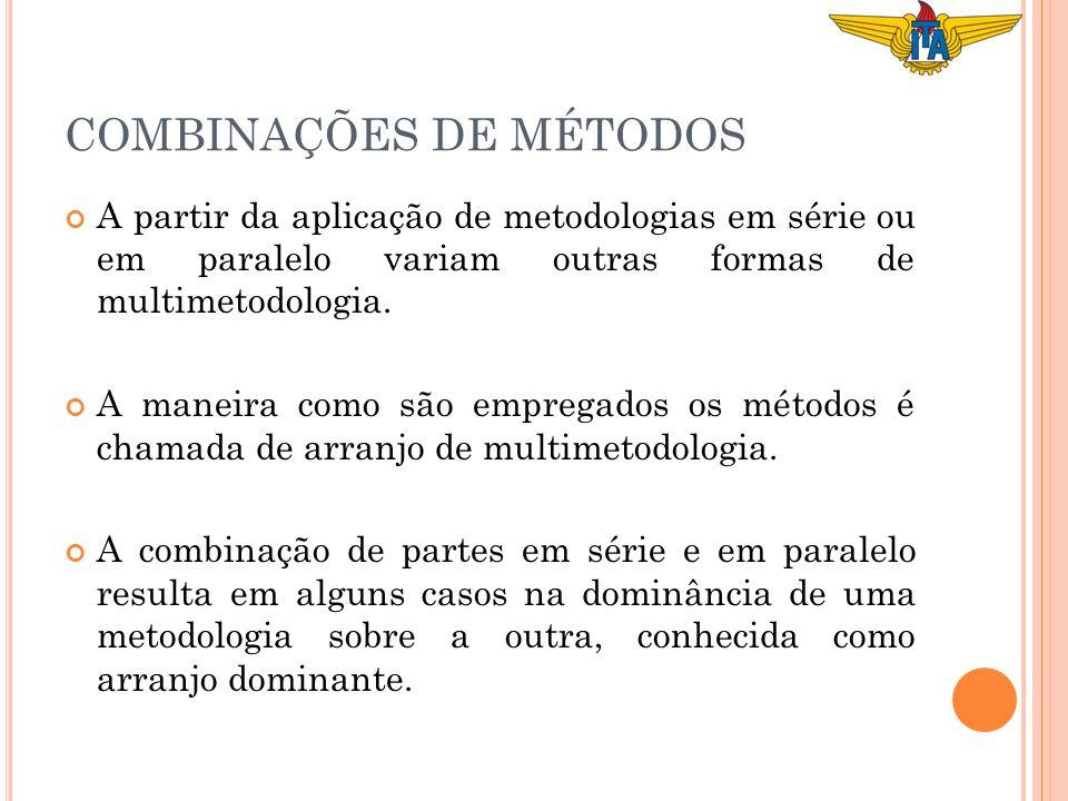 A partir da aplicação de metodologias em série ou em paralelo variam outras formas de multimetodologia. A maneira como são empregados os métodos é cha