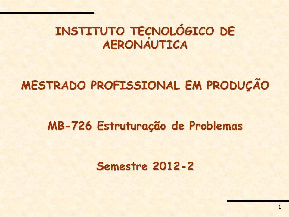 1 INSTITUTO TECNOLÓGICO DE AERONÁUTICA MESTRADO PROFISSIONAL EM PRODUÇÃO MB-726 Estruturação de Problemas Semestre 2012-2