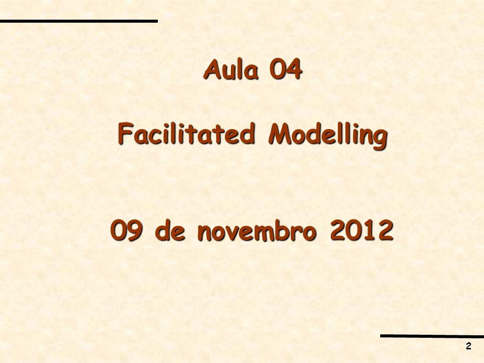 3 EMENTA 1.PO Soft e Estruturação de Problemas 2.SODA: Strategic Options Development and Analysis 3.SCA: Strategic Choice Approach 4.SSM: Soft Systems Methodology 5.Multimetodologia 6.Facilitated Modelling