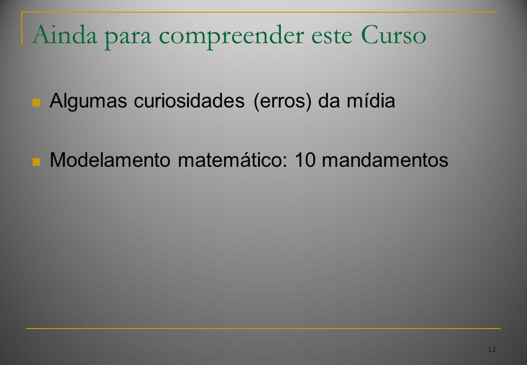13 Ainda para compreender este Curso Algumas curiosidades (erros) da mídia Modelamento matemático: 10 mandamentos