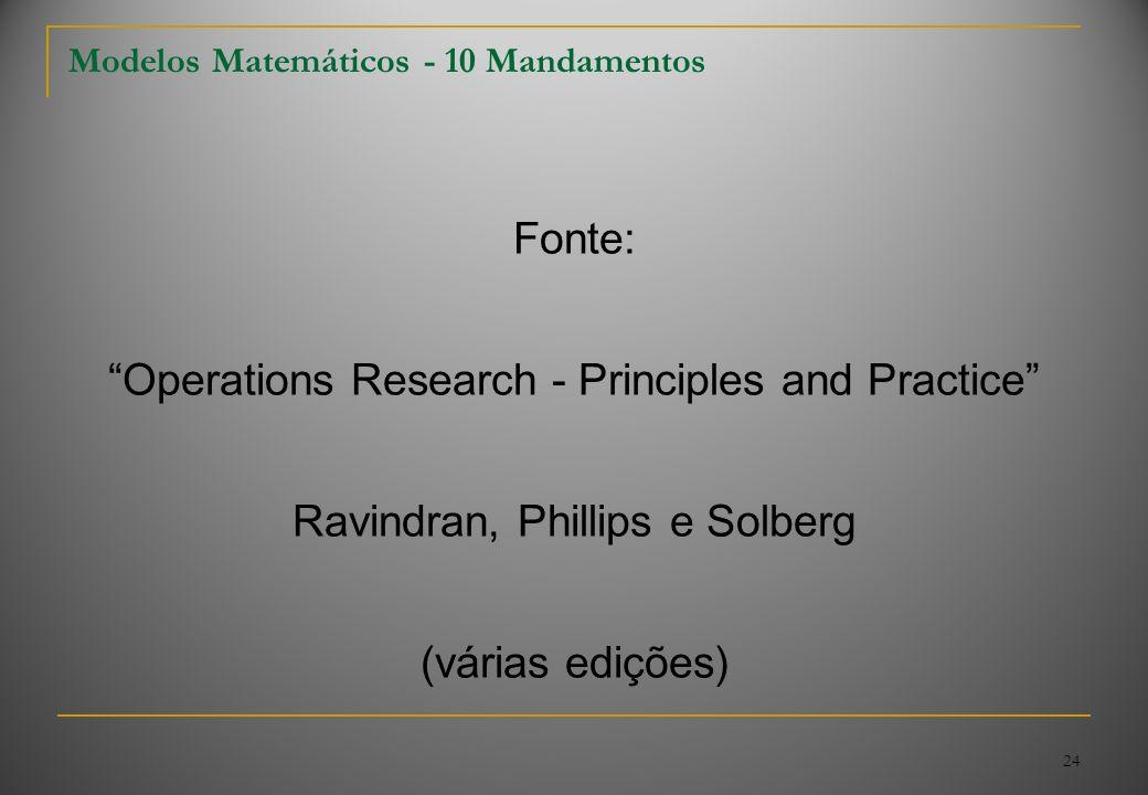 24 Modelos Matemáticos - 10 Mandamentos Fonte: Operations Research - Principles and Practice Ravindran, Phillips e Solberg (várias edições)