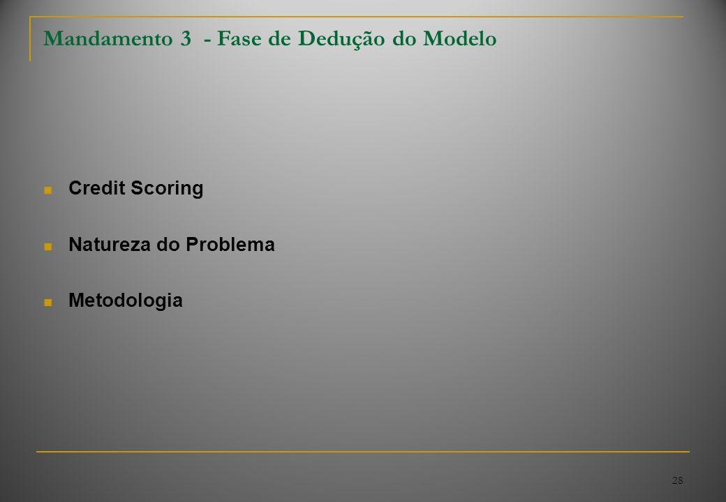 28 Mandamento 3 - Fase de Dedução do Modelo Credit Scoring Natureza do Problema Metodologia