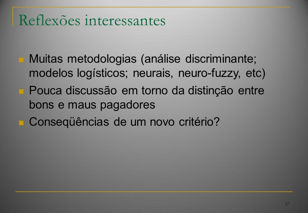 37 Reflexões interessantes Muitas metodologias (análise discriminante; modelos logísticos; neurais, neuro-fuzzy, etc) Pouca discussão em torno da dist