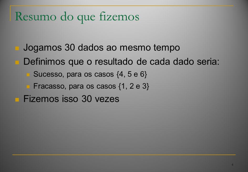 4 Resumo do que fizemos Jogamos 30 dados ao mesmo tempo Definimos que o resultado de cada dado seria: Sucesso, para os casos {4, 5 e 6} Fracasso, para