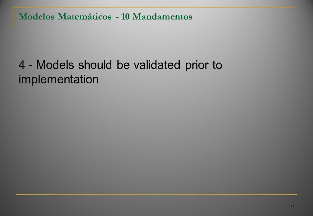 44 Modelos Matemáticos - 10 Mandamentos 4 - Models should be validated prior to implementation