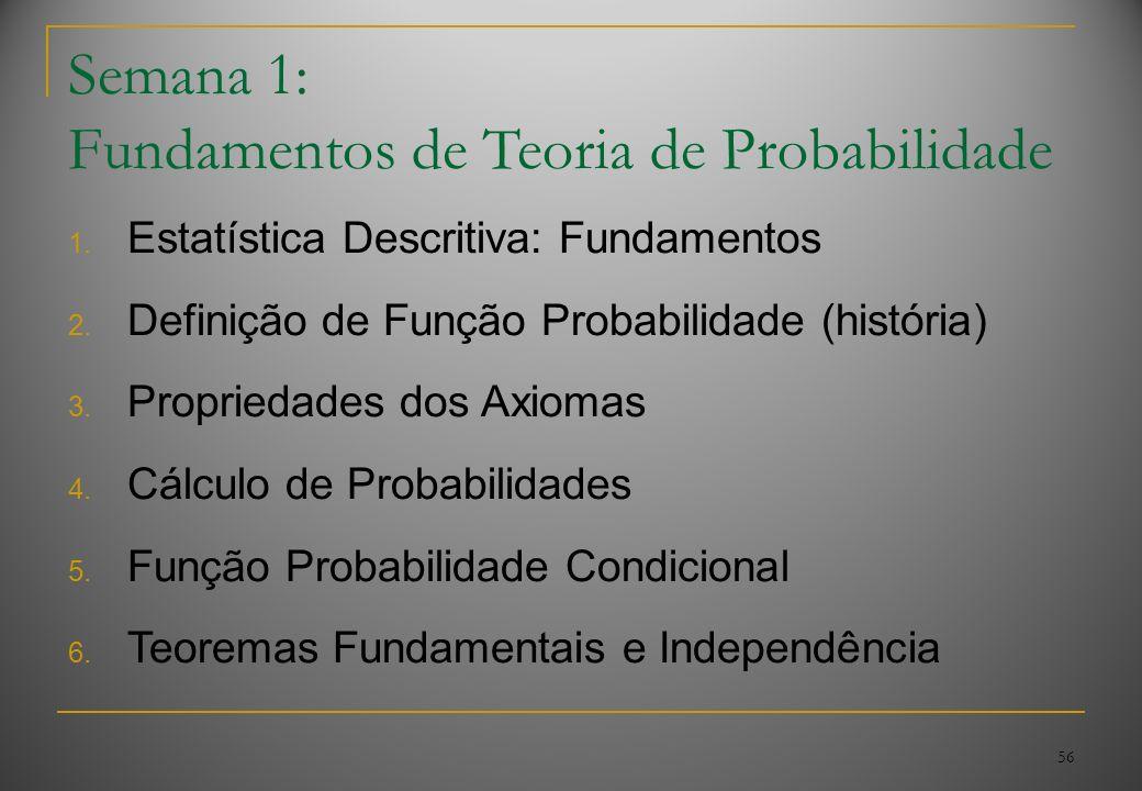56 Semana 1: Fundamentos de Teoria de Probabilidade 1. Estatística Descritiva: Fundamentos 2. Definição de Função Probabilidade (história) 3. Propried