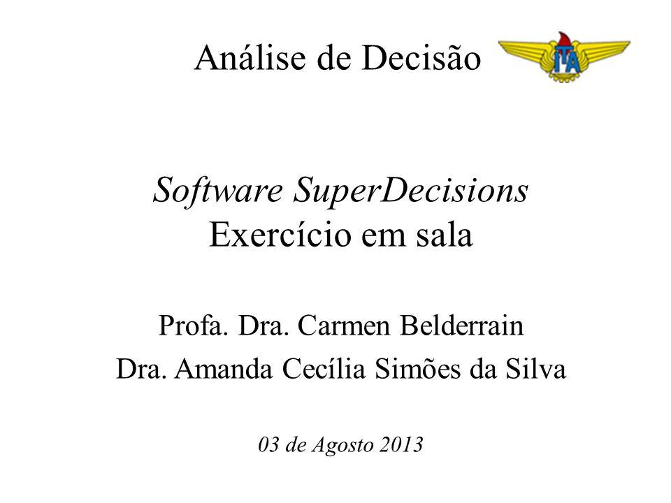 Análise de Decisão Software SuperDecisions Exercício em sala Profa.