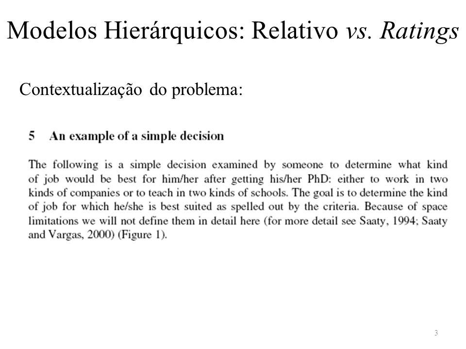 Contextualização do problema: Modelos Hierárquicos: Relativo vs. Ratings 3