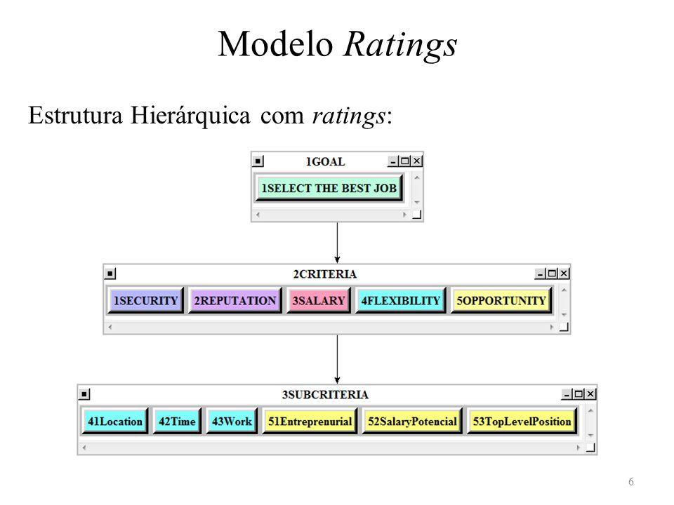 1Security 2Reputation 3Salary Ratings dos critérios 7