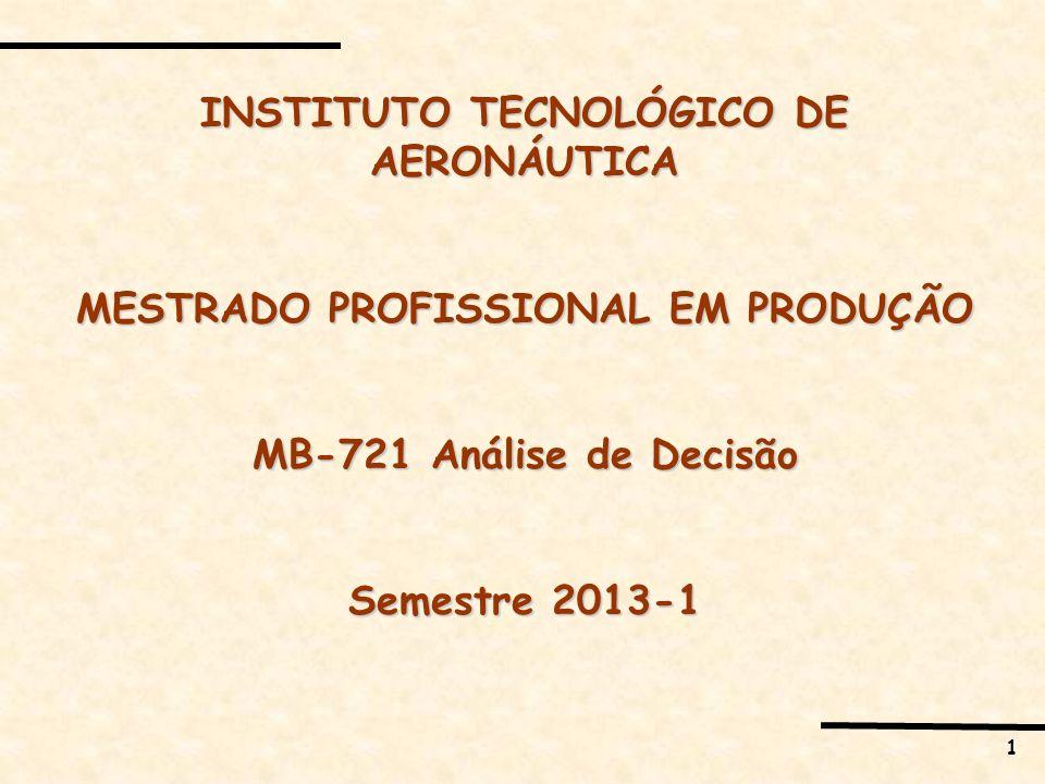 1 INSTITUTO TECNOLÓGICO DE AERONÁUTICA MESTRADO PROFISSIONAL EM PRODUÇÃO MB-721 Análise de Decisão Semestre 2013-1