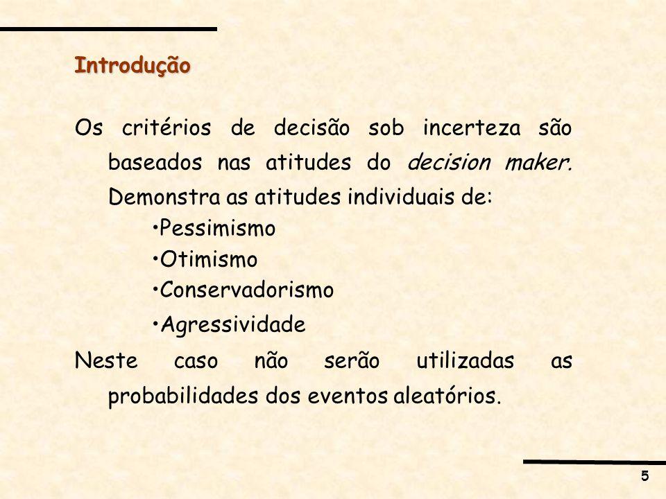 5 Introdução Os critérios de decisão sob incerteza são baseados nas atitudes do decision maker. Demonstra as atitudes individuais de: Pessimismo Otimi