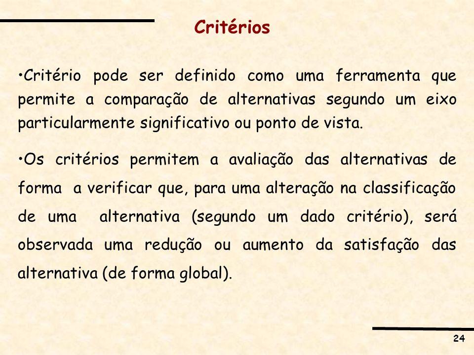 24 Critérios Critério pode ser definido como uma ferramenta que permite a comparação de alternativas segundo um eixo particularmente significativo ou