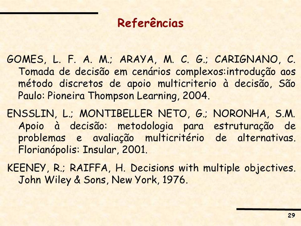 29 Referências GOMES, L. F. A. M.; ARAYA, M. C. G.; CARIGNANO, C. Tomada de decisão em cenários complexos:introdução aos método discretos de apoio mul