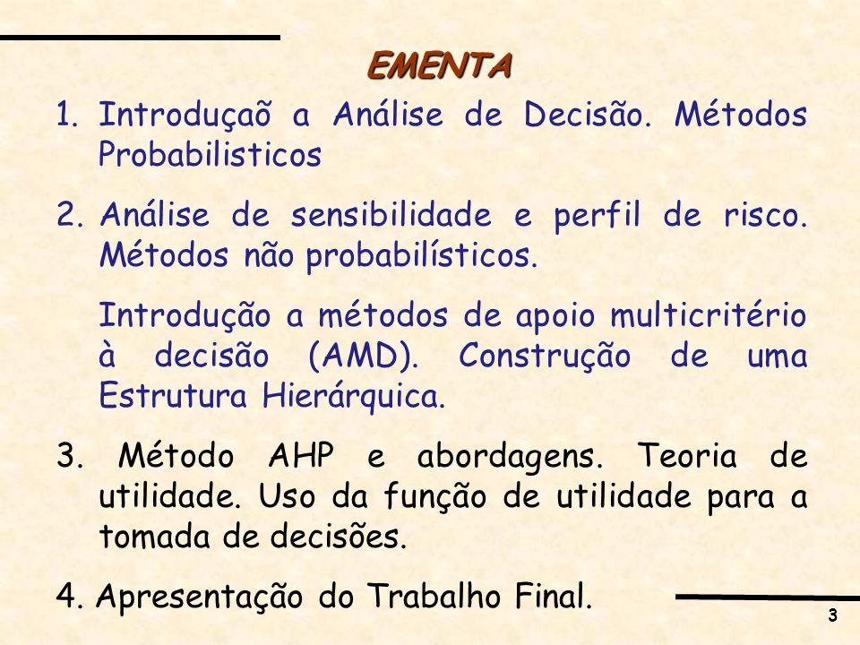 3 EMENTA 1.Introduçaõ a Análise de Decisão. Métodos Probabilisticos 2.Análise de sensibilidade e perfil de risco. Métodos não probabilísticos. Introdu